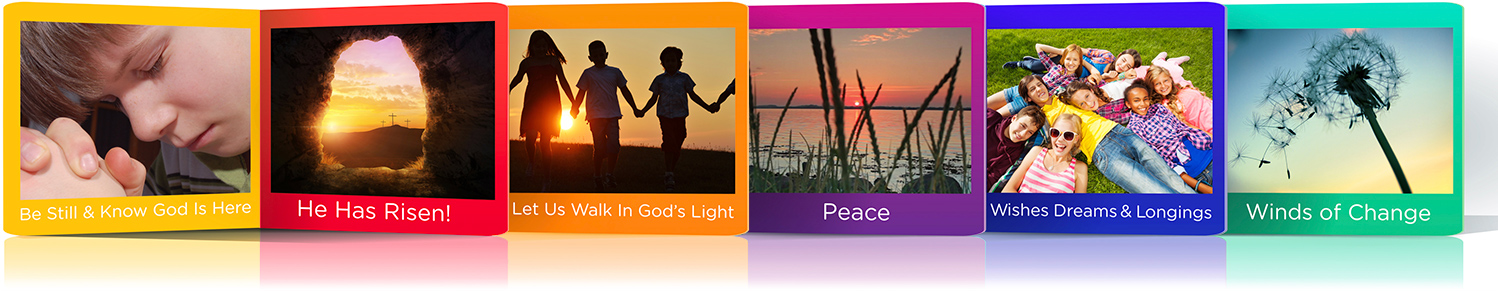 Banner image of episodes from the Emmaus Online Video Prayer Series for Adults & Children