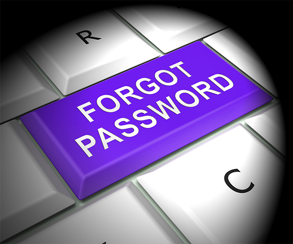 "Stock graphic of keyboard purple key ""Forgot Password"" for Emmas Production Help"