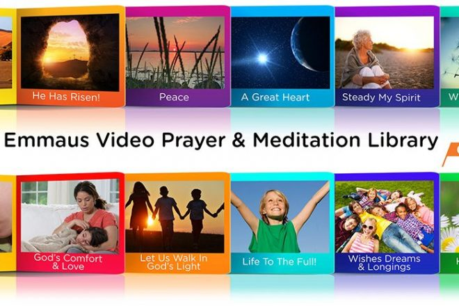 Banner images of video episodes from the Emmaus Online Prayer Library