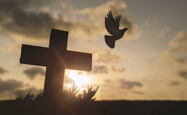 Stock image of Pentecost dove and cross sunburst silhouette